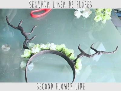 † DIY Antlers & Flowers Headband. Diadema con Flores y Astas †