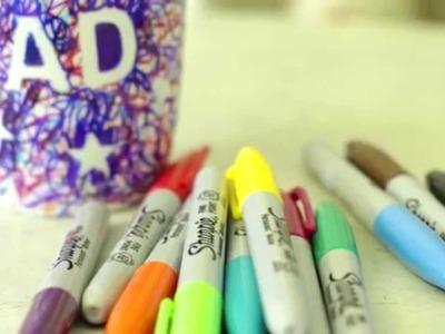 Kids craft: How to make a Sharpie scribble mug
