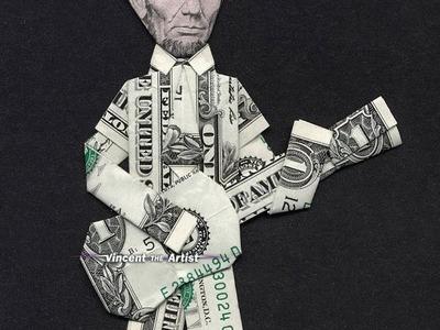 Money Origami Abe Lincoln Playing Guitar - Dollar Bill Art