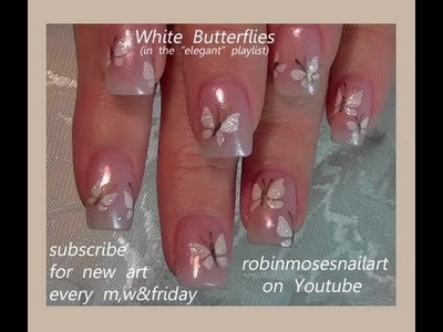 Nail Art Tutorials | DIY Easy White Butterfly Nail Art Design Tutorial