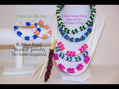 "Rubber Band ""Bead"" Necklace + Bracelet using sticks. Also see Rainbow Loom Design Pattern version."