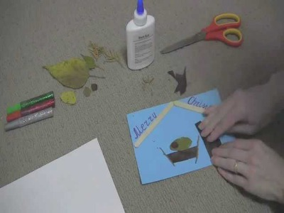 Baby Jesus: Art and Craft for kids: How to make Christmas card with dry leaves