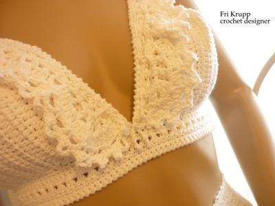"""Como fazer o cropped crochet Top """"Carolina""""com bababdos How to do, ruff, Häkeltop, Halter, Oberteil"""