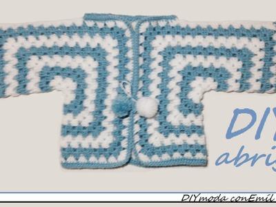 Cómo tejer chaqueta o abrigo de bebé en crochet, granny hexagonos.