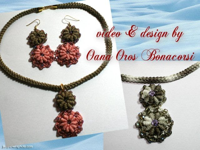 Crochet bullion stitch necklace and earings
