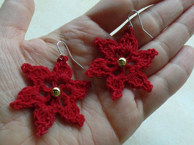 #Crochet Flower Earrings Thread #TUTORIAL