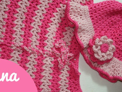 Crochet V stitch girl hat