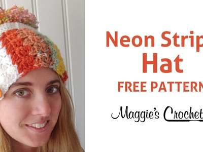 Deborah Norville Neon Stripe Hat Free Crochet Pattern - Right Handed