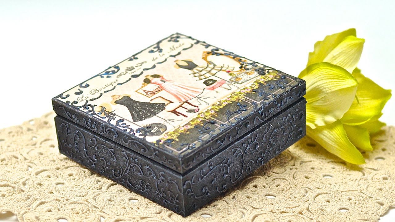 Decoupage box with mineral paste - DIY tutorial