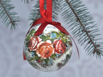 Decoupage christas baubles easy to make - tutorial  DIY