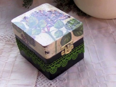 Decoupage tutorial DIY  - box with dyed lace