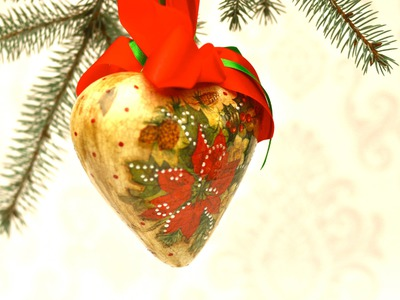 Decoupage tutorial - heart-shaped bauble - Christmas decoration DIY