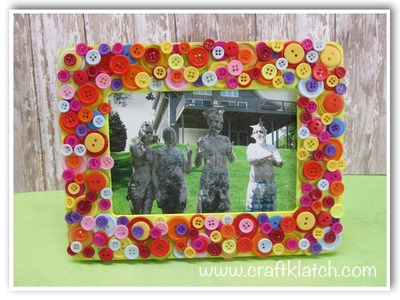 DIY Button Frame Mother's Day Gift Craft Idea