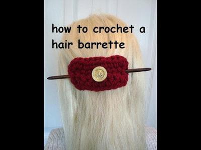 DIY CROCHET A HAIR CLIP BARRETTE