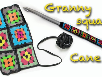 DIY Fimo Granny square crochet decoration - Polymer clay cane