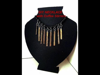 DIY NECKLACE FROM COFFEE STIR STICKS, easy recycled jewelry, jewellery making