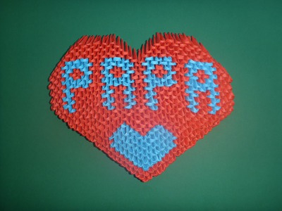 "DIY Origami 3D Herz ""PAPA"" Geschenk zum Vatertag, Father´s day Gift Ideas Heart Tutorial Anleitung"