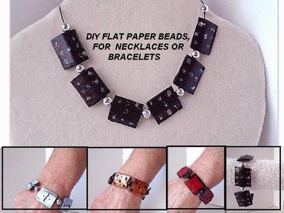 Diy paper beads - FLAT BLACK PAPER BEADS for necklace or bracelet