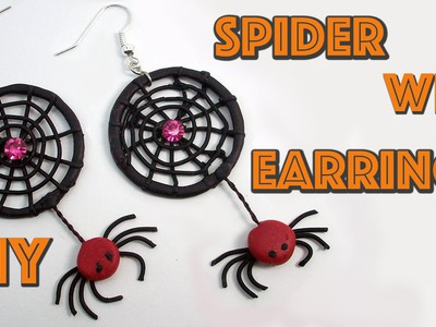 DIY Spider Web Earrings -  Halloween Crafts - Polymer clay tutorial