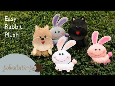 Easy, Cute Rabbit Plush - PolkadottiePie Felt Craft Tutorial