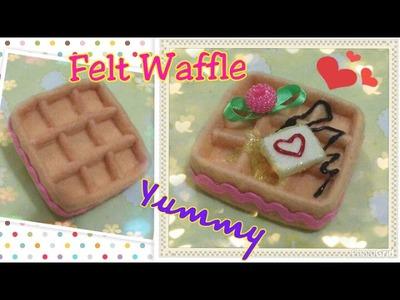 Felt craft tutorial, diy felt waffle tutorial不織布手工教學:不織布格仔餅