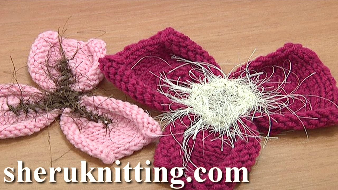 Free Knitting Flower Patterns Tutorial 21 Easy to Knit 3-Petal Flower