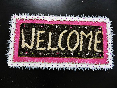 """Fully Recycled DIY: """"WELCOME"""" home front door board hanging!"""