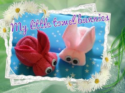 Fun towel craft - Towel fold bunny tutorial 毛巾小兔