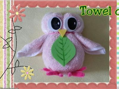 Fun towel fold craft tutorial -  diy washcloth folding owl摺毛巾玩偶教學:毛巾貓頭鷹