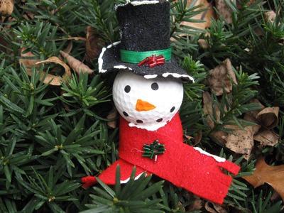 Golf Ball Snowman Ornament Craft Tutorial
