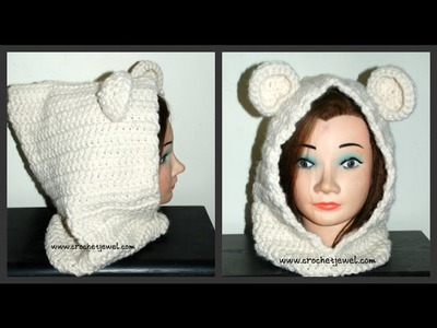 How to Crochet Adult or Child Hooded Bear Cowl