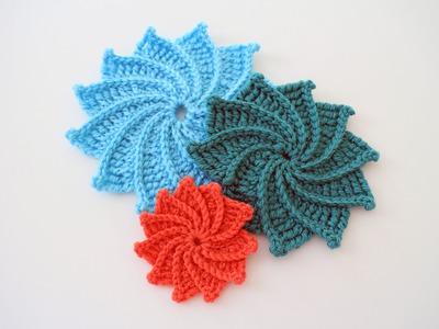 How to Crochet the Spiral Crochet Flower Left Handed