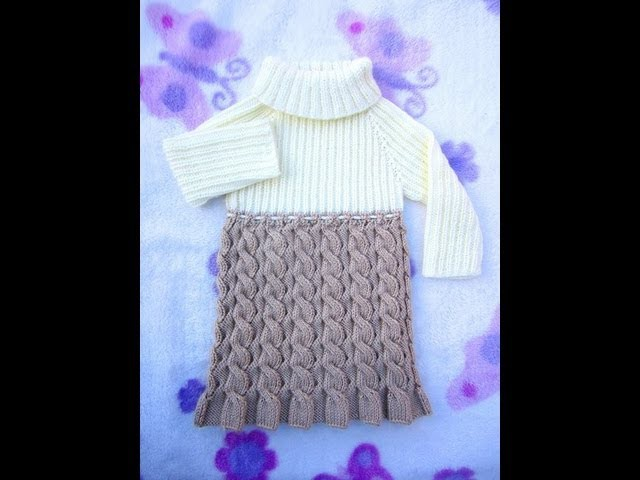 How to Knit Seamless and Reversible Cables Baby Dress Part 3