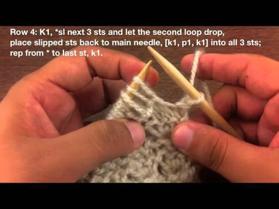 How to Knit the Little Crown Stitch (English Style)