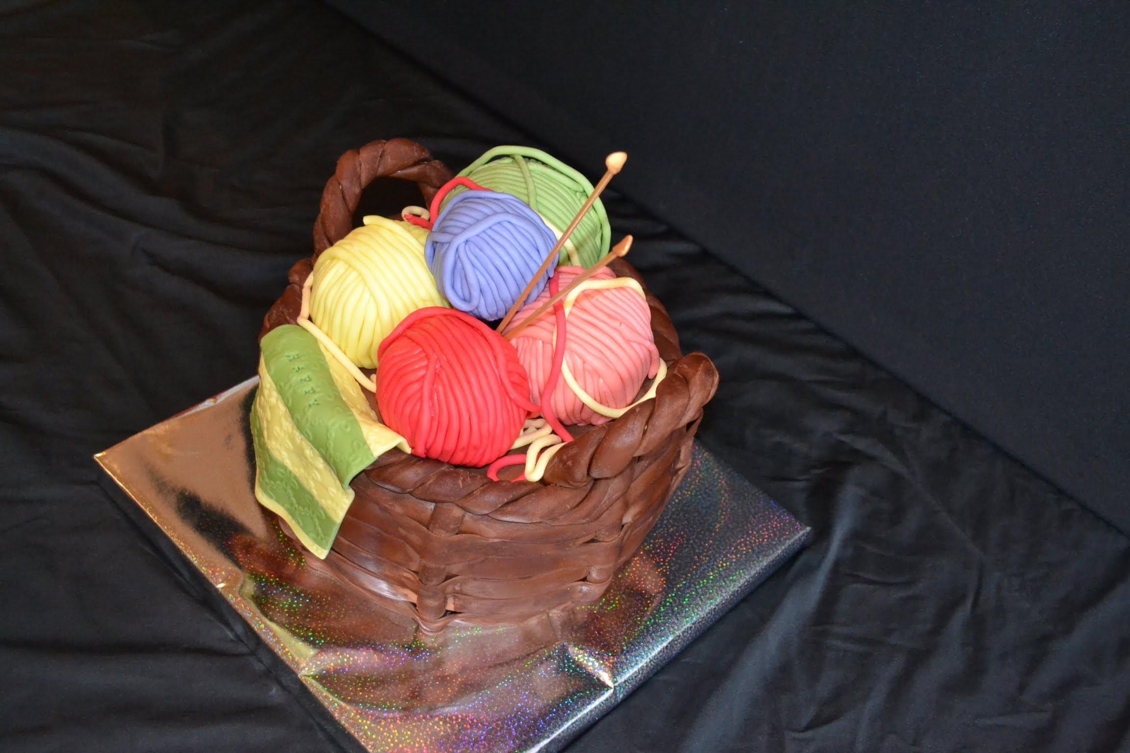 How to make fondant basket cake, knitting cake.