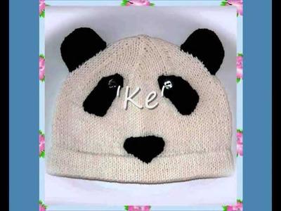 Ke Panda Animal Bear Hat Aran and DK Knitting Pattern