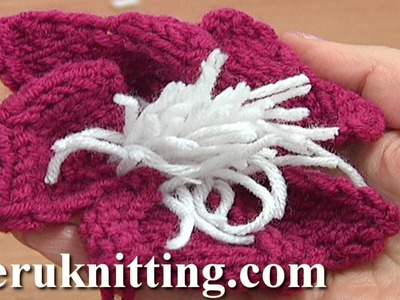 Knitted Flower With Stamens Tutorial 9 Knitting Flowers