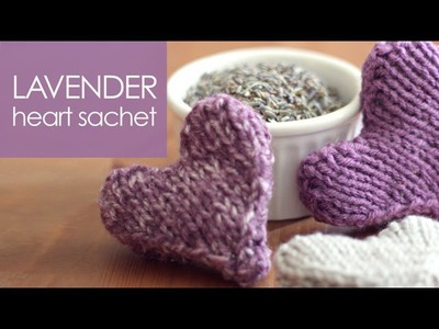 Knitted LAVENDER HEART Sachet | Mother's Day DIY