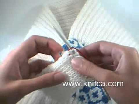 Knitting how to - Keyhole in a ribbed scarf