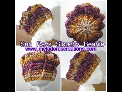Sun Rays Slouchy Beanie - Crochet Tutorial
