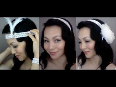 {TRINA} Beaded Wedding Headband : DIY Tutorial, 1 headband 3 styles