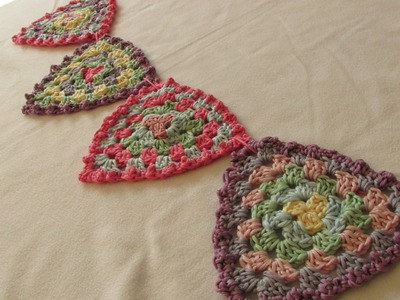 VERY EASY crochet granny triangle bunting. garland - crochet pattern for beginners