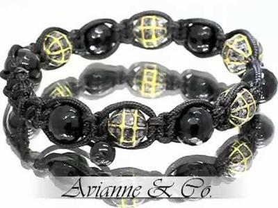 14K Yellow Gold Diamond Onyx Ball Bead Bracelet with Black Diamonds 6.00 Ctw (Diamond Bracelet)
