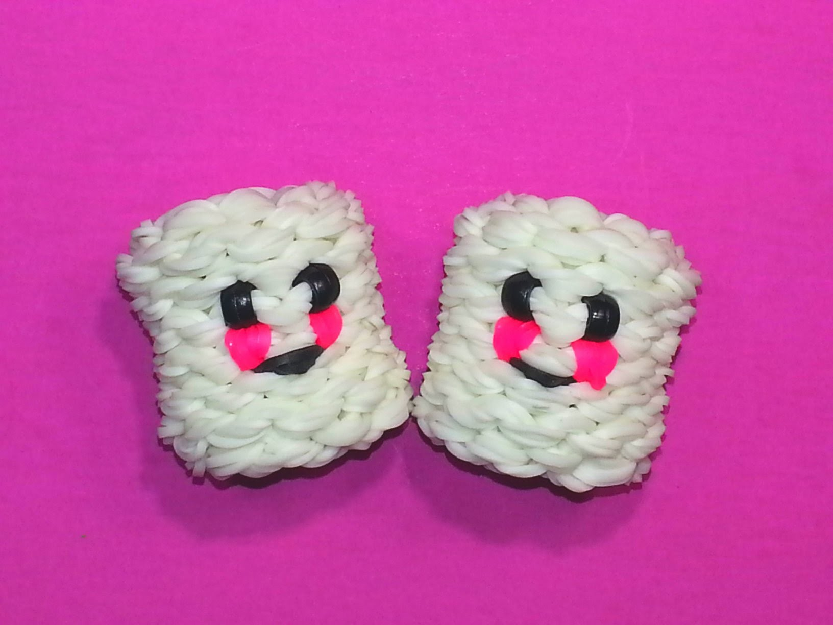 3-D Happy Marshmallow Tutorial by feelinspiffy (Rainbow Loom)