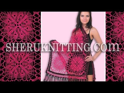 Crochet Square Motif Shawl Model 10