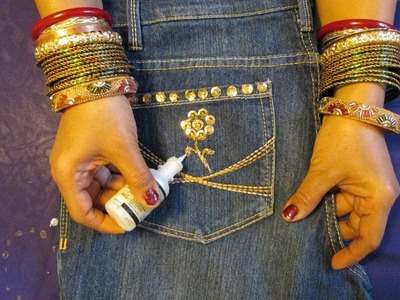DIY: DECORATE JEANS  WITH SEQUINS, BEADS AND GIVE IT A DESIGNER LOOK.