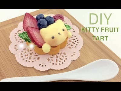 DIY Kitty Fruit Tart Pastry Cup from Polymer Clay