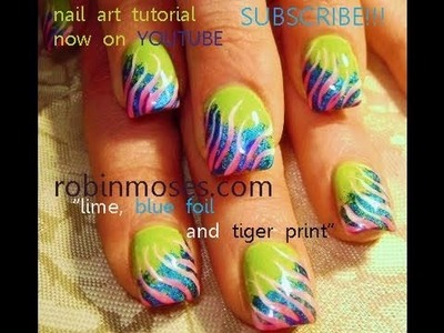 DIY Nail Art Foil on Lime Green Nails & PInk Zebra!