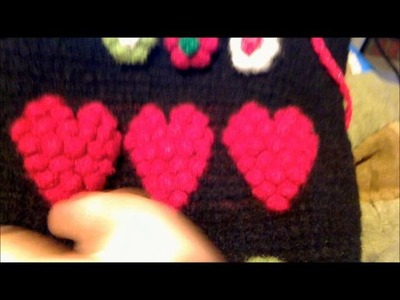 Felted Crochet drawstring tote bag with hearts & flowers