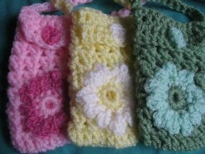 Flower Cell Phone Holder - Left Handed Crochet Tutorial